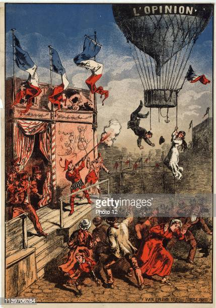 L'opinion Humorous print shows a theatrical performer on an outdoor stage shooting at a balloon labelled 'L'opinion' as a man leaps from the basket...