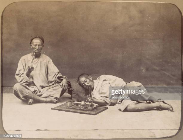 Opium smokers . In 1867.