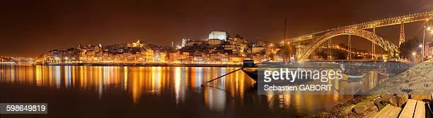 Oporto city Night with Douro river