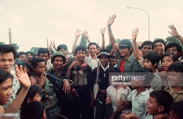 Oposite the French embassy compound the 17 of April 1975 the day of the fall of the city the first Khmer Rouge soldiers have entered the city and...