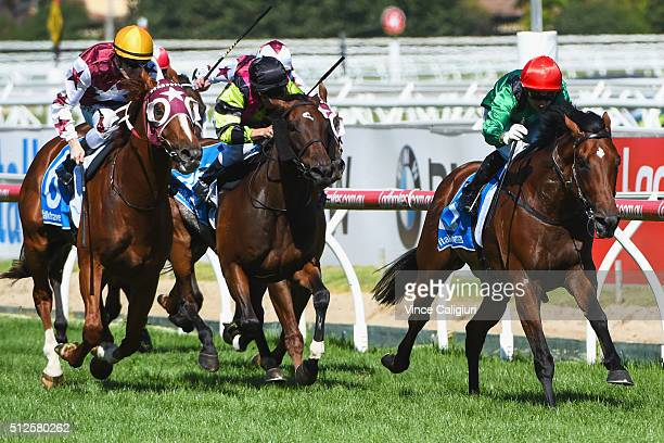 Oppie Bosson riding Turn Me Loose wins Race 6 Futurity Stakes during Melbourne Racing at Caulfield Racecourse on February 27 2016 in Melbourne...
