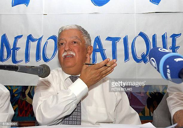 Opponent Mohamed Ali Halouani of formercommunist Ettajdid party presidential candidate gives a press conference 20 October 2004 in Tunis to protest...