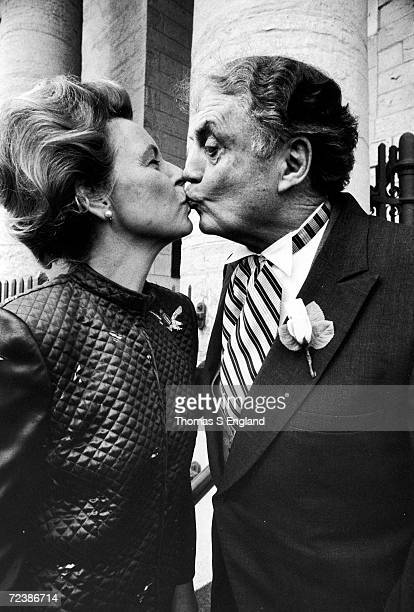 ERA opponent Phyllis Schlafly kissing husband Fred at the wedding of one of their chlidren