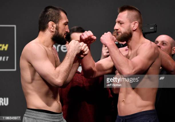 Opponents Abubakar Nurmagomedov of Russia and David Zawada of Germany face off during the UFC Fight Night weighins at CSKA Arena on November 08 2019...
