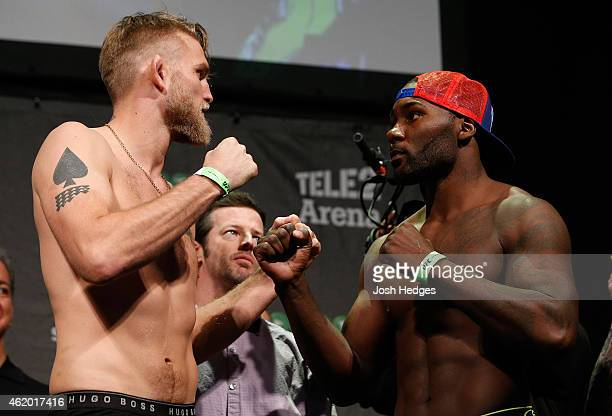 Opponents Alexander Gustafsson of Sweden and Anthony Johnson of the United States face off during the UFC Fight Night Weighins at the Hovet Arena on...