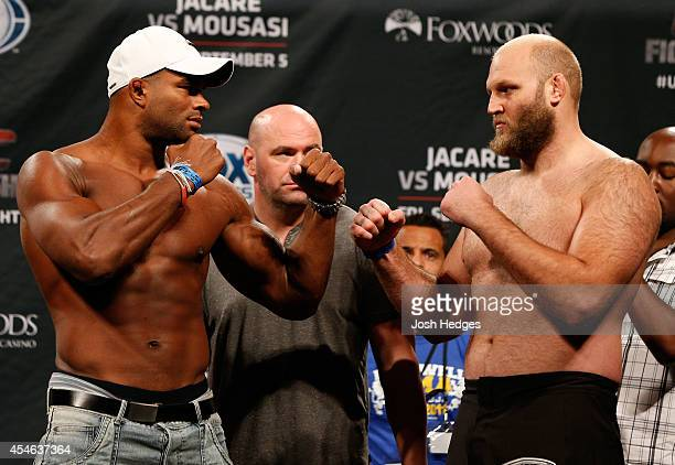 Opponents Alistair Overeem of The Netherlands and Ben Rothwell face off during the UFC Fight Night weighin at Foxwoods Resort Casino on September 4...