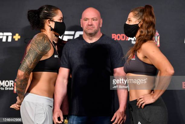 Opponents Amanda Nunes of Brazil and Felicia Spencer of Canada face off during the UFC 250 weigh-in at UFC APEX on June 05, 2020 in Las Vegas, Nevada.