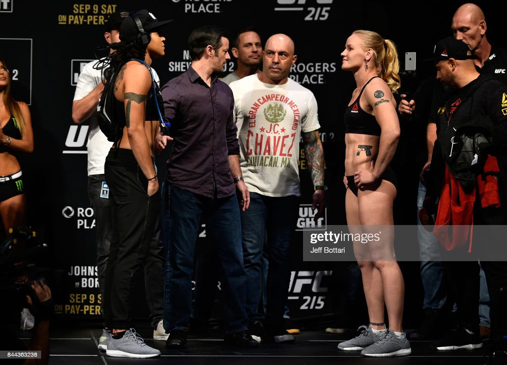 Opponents Amanda Nunes of Brazil and Valentina Shevchenko of Kyrgyzstan face-off during the UFC 215 weigh-in inside the Rogers Place on September 8, 2017 in Edmonton, Alberta, Canada.