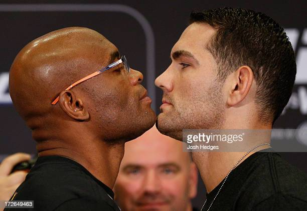 Opponents Anderson Silva and Chris Weidman face off during the final UFC 162 press conference at the MGM Grand Hotel/Casino on July 4 2013 in Las...