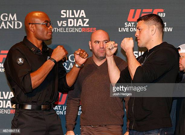 Opponents Anderson Silva of Brazil and Nick Diaz face off during the UFC 183 Ultimate Media Day at the MGM Grand Hotel/Casino on January 29 2015 in...