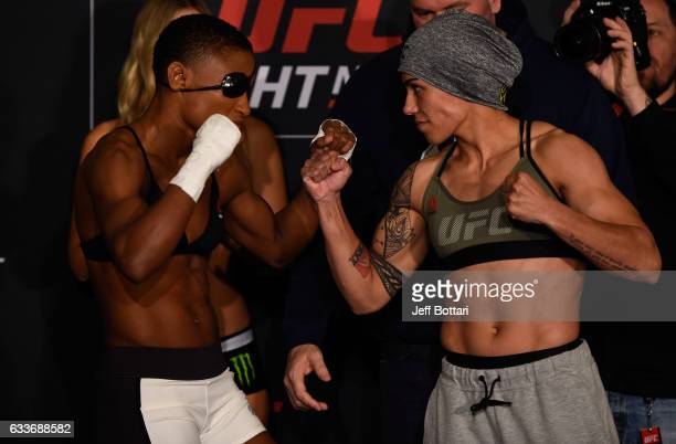 Opponents Angela Hill and Jessica Andrade of Brazil face off during the UFC Fight Night weighin at the Sheraton North Houston at George Bush...