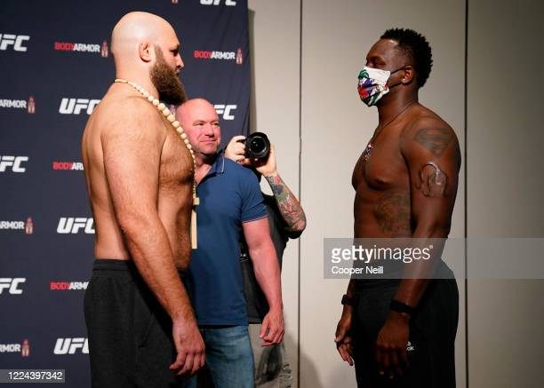 Opponents Ben Rothwell and Ovince Saint Preux face off during the official UFC Fight Night weighin on May 12 2020 in Jacksonville Florida