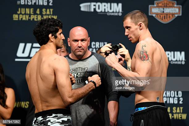 Opponents Beneil Dariush of Iran and James Vick face off during the UFC 199 weighin at the Forum on June 3 2016 in Inglewood California