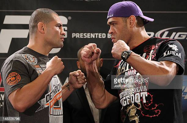 Opponents Cain Velasquez and Antonio Big Foot Silva face off during the UFC 146 press conference at MGM Grand on May 24 2012 in Las Vegas Nevada