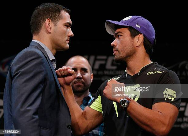 Opponents Chris Weidman and Lyoto Machida face off during the UFC Ultimate Media Day at the Mandalay Bay Resort and Casino on July 3, 2014 in Las...