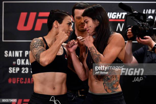 Opponents Claudia Gadelha of Brazil and Jessica Andrade of Brazil face off during the UFC Fight Night Weighin at the Hilton Tokyo on September 21...