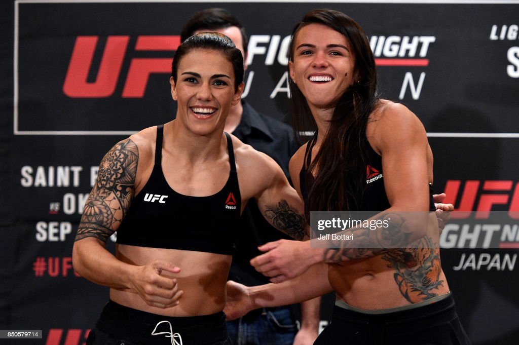 Opponents Claudia Gadelha of Brazil and Jessica Andrade of Brazil face off during the UFC Fight Night Weigh-in at the Hilton Tokyo on September 21, 2017 in Tokyo, Japan.