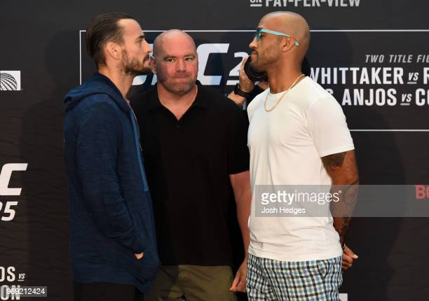 Opponents CM Punk and Mike Jackson face off during the UFC 225 Ultimate Media Day at the United Center on June 7 2018 in Chicago Illinois