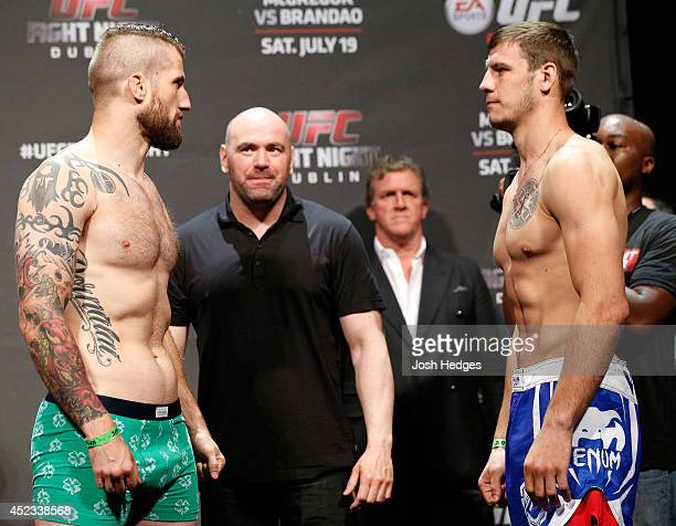 Opponents Cody Donovan and Nikita Krylov face off during the UFC weighin event at The O2 on July 18 2014 in Dublin Ireland
