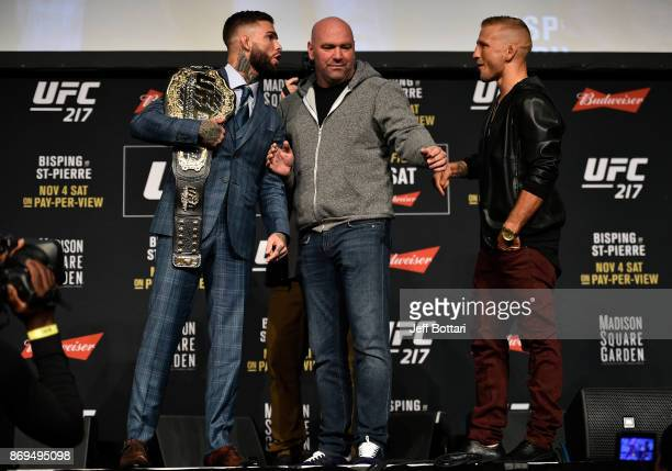 Opponents Cody Garbrandt and TJ Dillashaw face off during the UFC 217 Press Conference inside Madison Square Garden on November 2 2017 in New York...