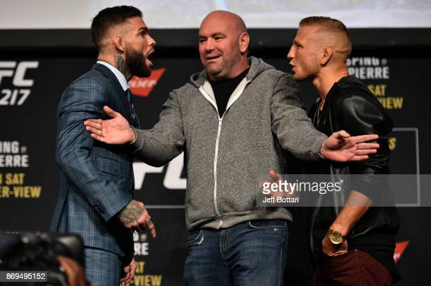 Opponents Cody Garbrandt and TJ Dillashaw face off during the UFC 217 Press Conference inside Madison Square Garden on November 2, 2017 in New York...