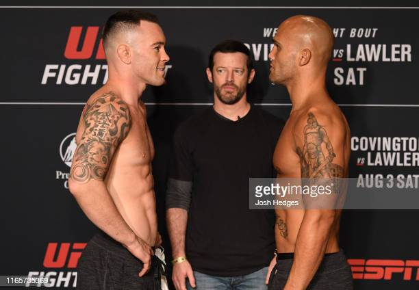 Opponents Colby Covington and Robbie Lawler face off during the UFC Fight Night official weighin at the DoubleTree Hotel on August 02 2019 in Newark...