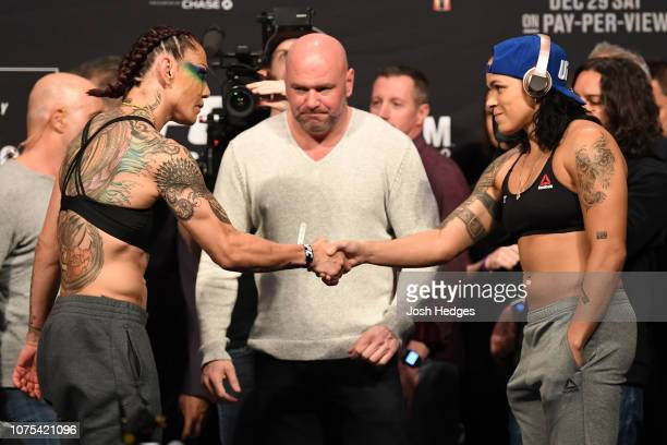 Opponents Cris Cyborg of Brazil and Amanda Nunes of Brazil shake hands during the UFC 232 weighin inside The Forum on December 28 2018 in Inglewood...