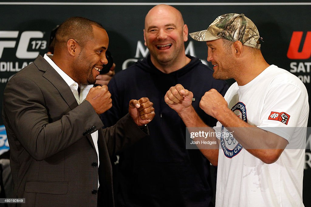 Opponents Daniel Cormier and Dan Henderson face off during the UFC 173 Ultimate Media Day at the MGM Grand Hotel/Casino on May 22, 2014 in Las Vegas, Nevada.
