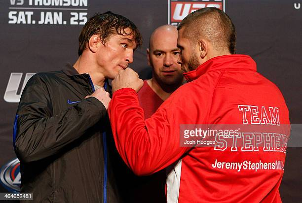Opponents Darren Elkins and Jeremy Stephens face off during the FOX UFC Saturday Ultimate Media Day at the United Center on January 23 2014 in...