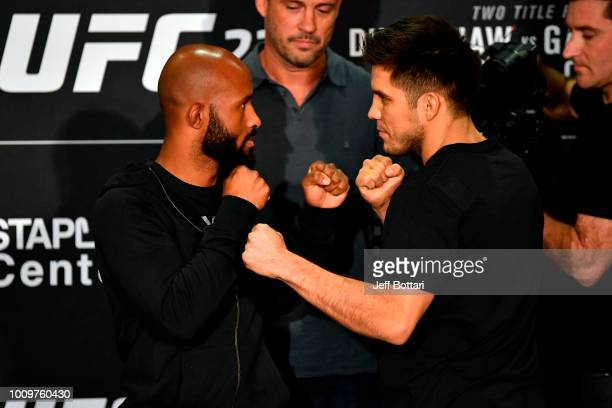Opponents Demetrious Johnson and Henry Cejudo face off for media during the UFC 227 Ultimate Media Day at Sheraton Grand Los Angeles on August 2 2018...