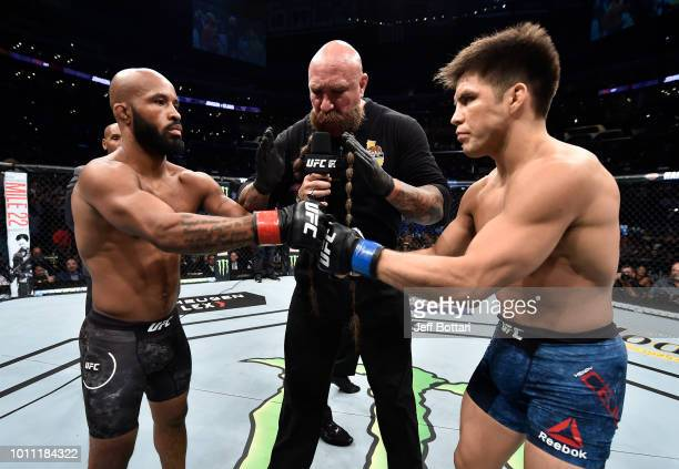 Opponents Demetrious Johnson and Henry Cejudo face off prior to their UFC flyweight championship fight during the UFC 227 event inside Staples Center...
