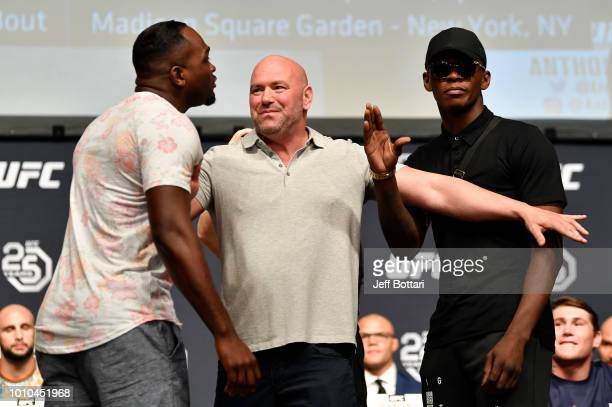 Opponents Derek Brunson and Israel Adesanya face off during the UFC press conference inside the Orpheum Theater on August 3 2018 in Los Angeles...