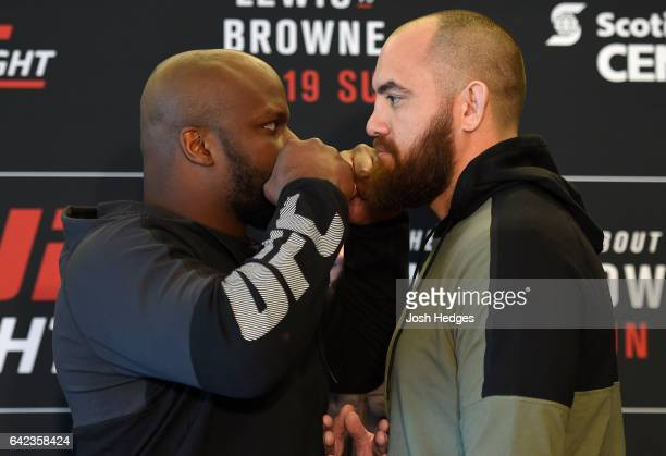 Opponents Derrick Lewis and Travis Browne face off during the UFC Ultimate Media Day at the Halifax Marriott Harbourfront on February 17 2017 in...