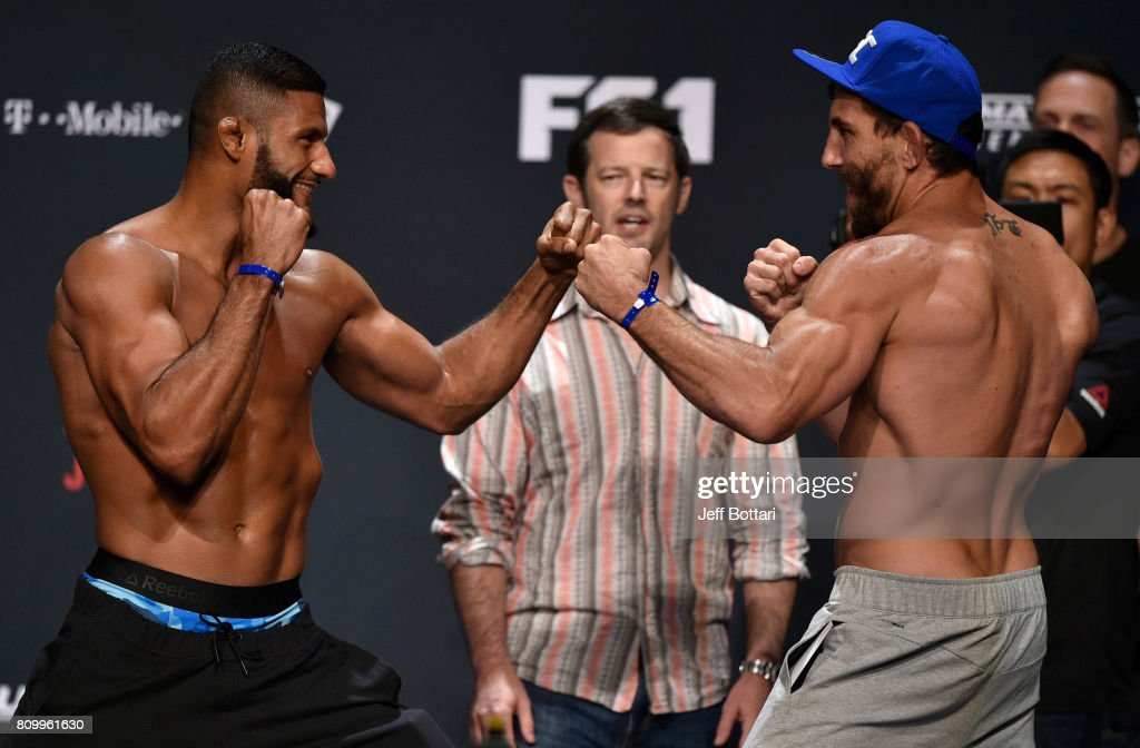 Opponents Dhiego Lima of Brazil and Jesse Taylor face off during the UFC weigh-in at the Park Theater on July 6, 2017 in Las Vegas, Nevada.