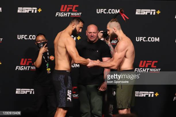 Opponents Dominick Reyes and Jiri Prochazka of the Czech Republic face off during the UFC Fight Night: Reyes v Prochazka Weigh-in at UFC Apex on...