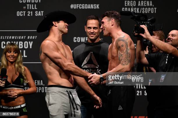 Opponents Donald Cerrone and Darren Till of England face off during the UFC Fight Night Weighin inside Ergo Arena on October 20 2017 in Gdansk Poland