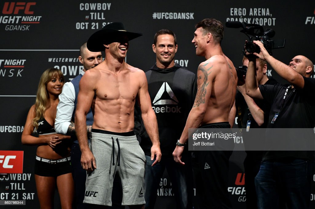 Opponents Donald Cerrone and Darren Till of England face off during the UFC Fight Night Weigh-in inside Ergo Arena on October 20, 2017 in Gdansk, Poland.