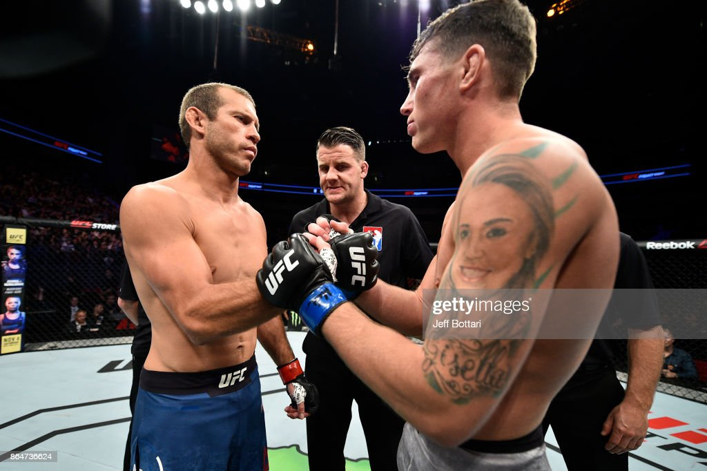 Opponents Donald Cerrone and Darren Till of England face off prior to their welterweight bout during the UFC Fight Night event inside Ergo Arena on October 21, 2017 in Gdansk, Poland.