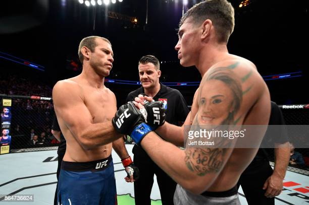 Opponents Donald Cerrone and Darren Till of England face off prior to their welterweight bout during the UFC Fight Night event inside Ergo Arena on...