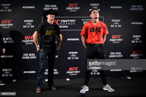 Opponents Donald Cerrone and Darren Till of England pose for the media during the UFC Fight Night Media Day inside Ergo Arena on October 19 2017 in...