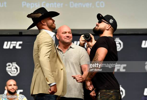 Opponents Donald 'Cowboy' Cerrone and Mike Perry face off during the UFC press conference inside the Orpheum Theater on August 3 2018 in Los Angeles...