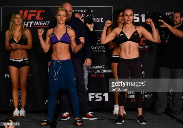 Opponents Felice Herrig and Alexa Grasso of Mexico pose for a picture during the UFC Fight Night weighin at the Sheraton North Houston at George Bush...