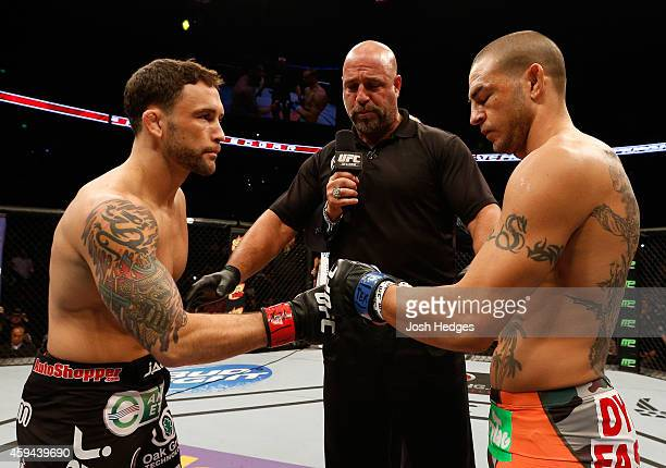 Opponents Frankie Edgar and Cub Swanson face off before their featherweight bout during the UFC Fight Night event at The Frank Erwin Center on...
