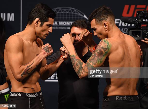 Opponents Gabriel Benitez of Mexico and Andre Fili of the United States face off during the UFC weighin at the Arena Monterrey on November 20 2015 in...