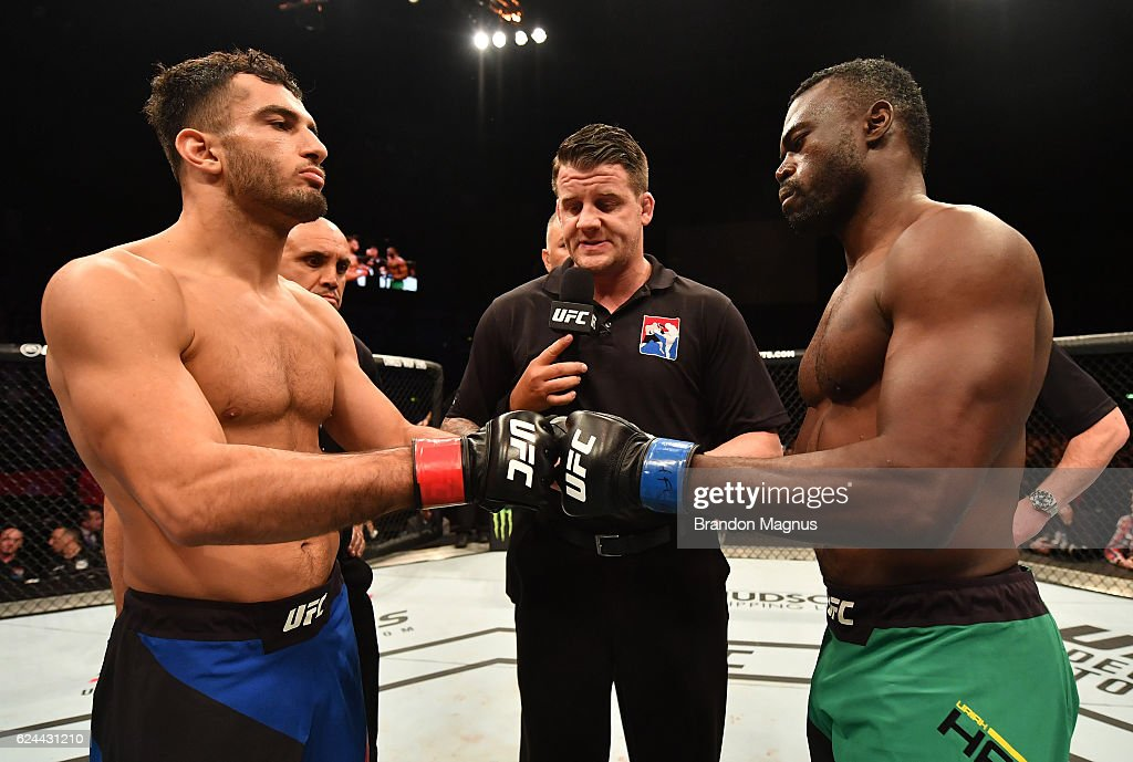 Opponents Gegard Mousasi of Iran and Uriah Hall of Jamaica face off prior to their middleweight bout during the UFC Fight Night at the SSE Arena on November 19, 2016 in Belfast, Northern Ireland.