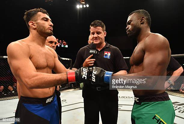 Opponents Gegard Mousasi of Iran and Uriah Hall of Jamaica face off prior to their middleweight bout during the UFC Fight Night at the SSE Arena on...