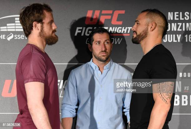 Opponents Gunnar Nelson of Iceland and Santiago Ponzinibbio of Argentina face off during the UFC Ultimate Media Day at the Crowne Plaza Glasgow on...