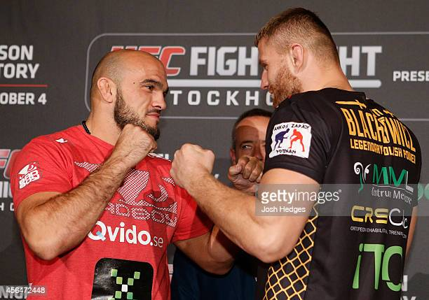 Opponents Ilir Latifi of Sweden and Jan Blachowicz of Poland face off at the Grand Hotel on October 1 2014 in Stockholm Sweden