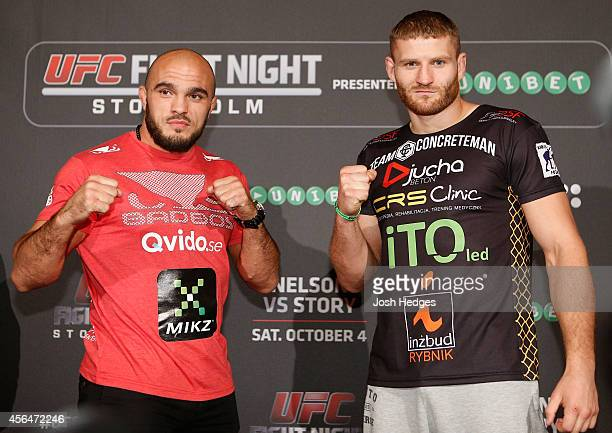 Opponents Ilir Latifi of Sweden and Jan Blachowicz of Poland pose for photos at the Grand Hotel on October 1 2014 in Stockholm Sweden