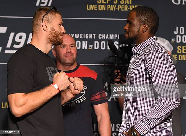 Opponents Jan Blachowicz of Poland and Corey Anderson face off during the UFC 191 Ultimate Media Day at MGM Grand Hotel Casino on September 3 2015 in...
